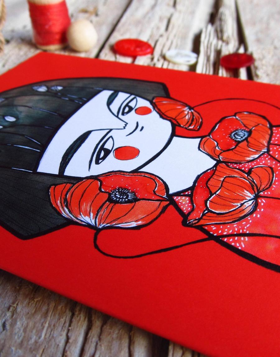 biglietto-auguri-illustrato-geisha-rossa