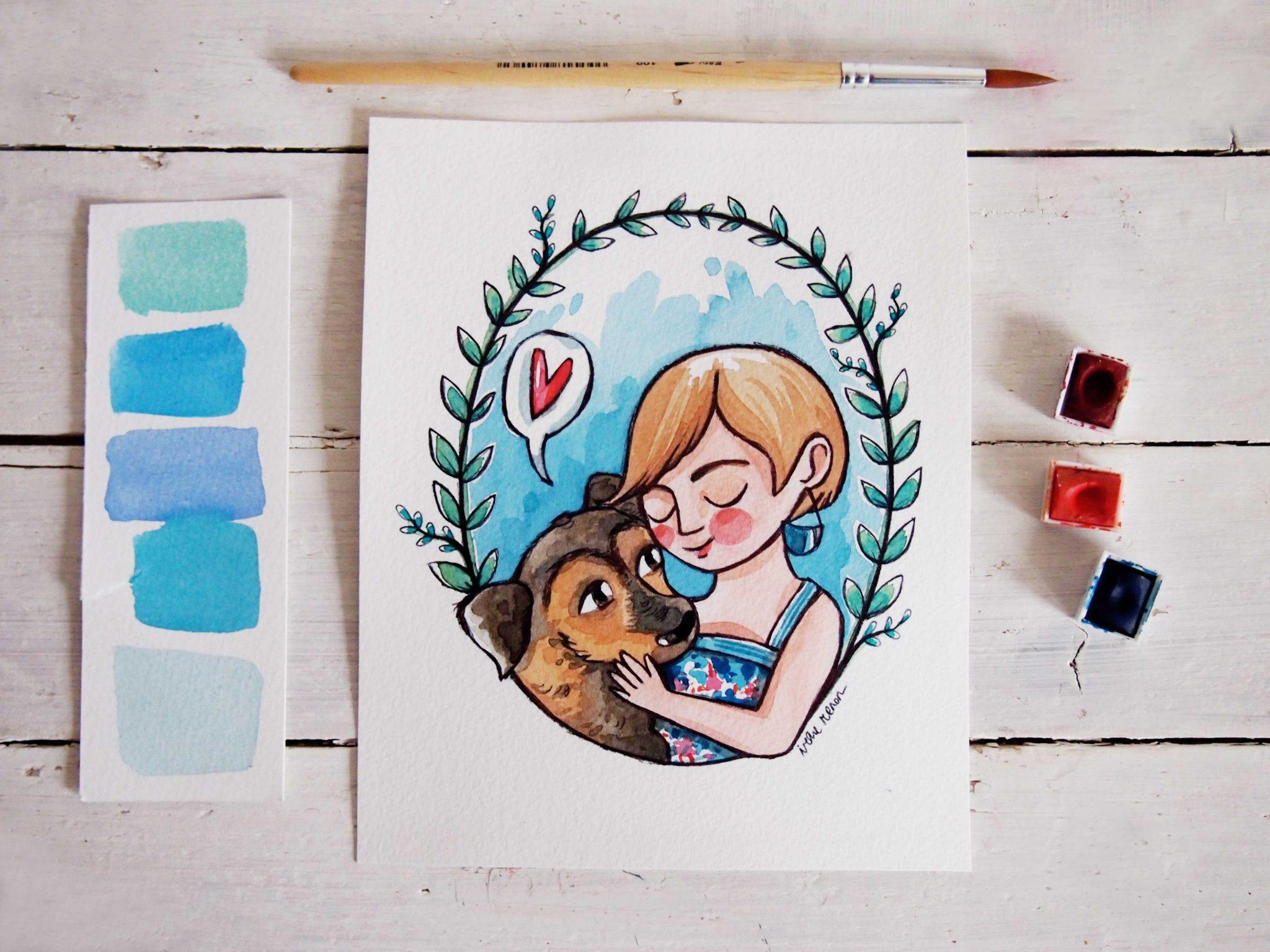 Ritratti illustrati cagnolino con padrona