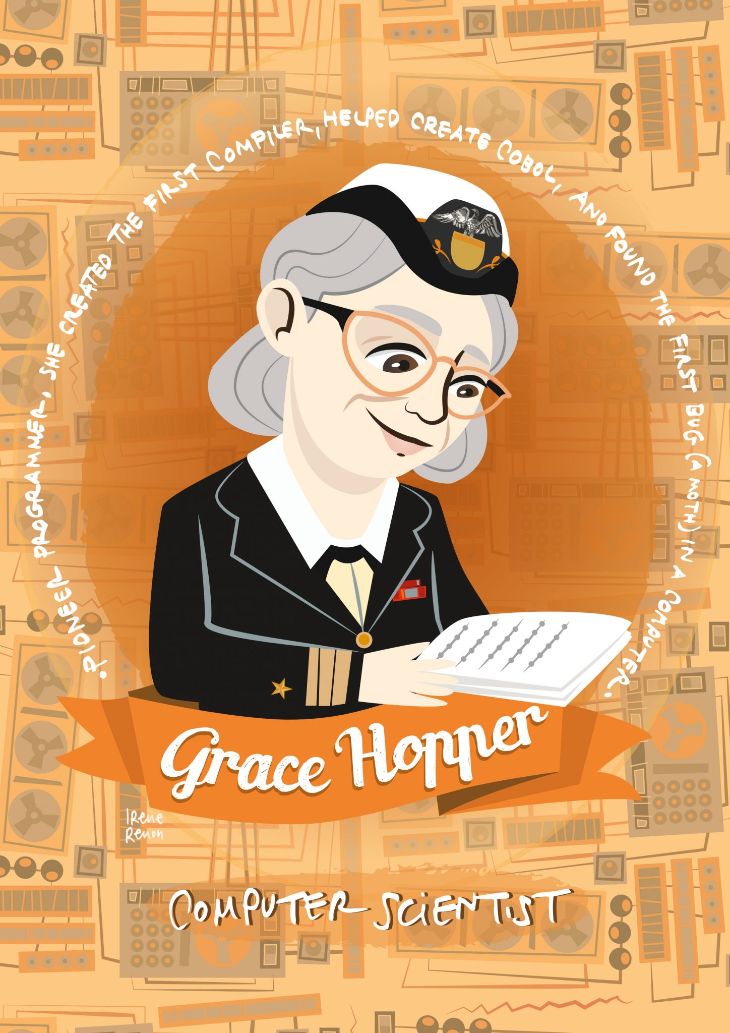 Grace hopper, programmer, women of science, women in science, donne nella scienza, ritratti illustrati donne nella scienza