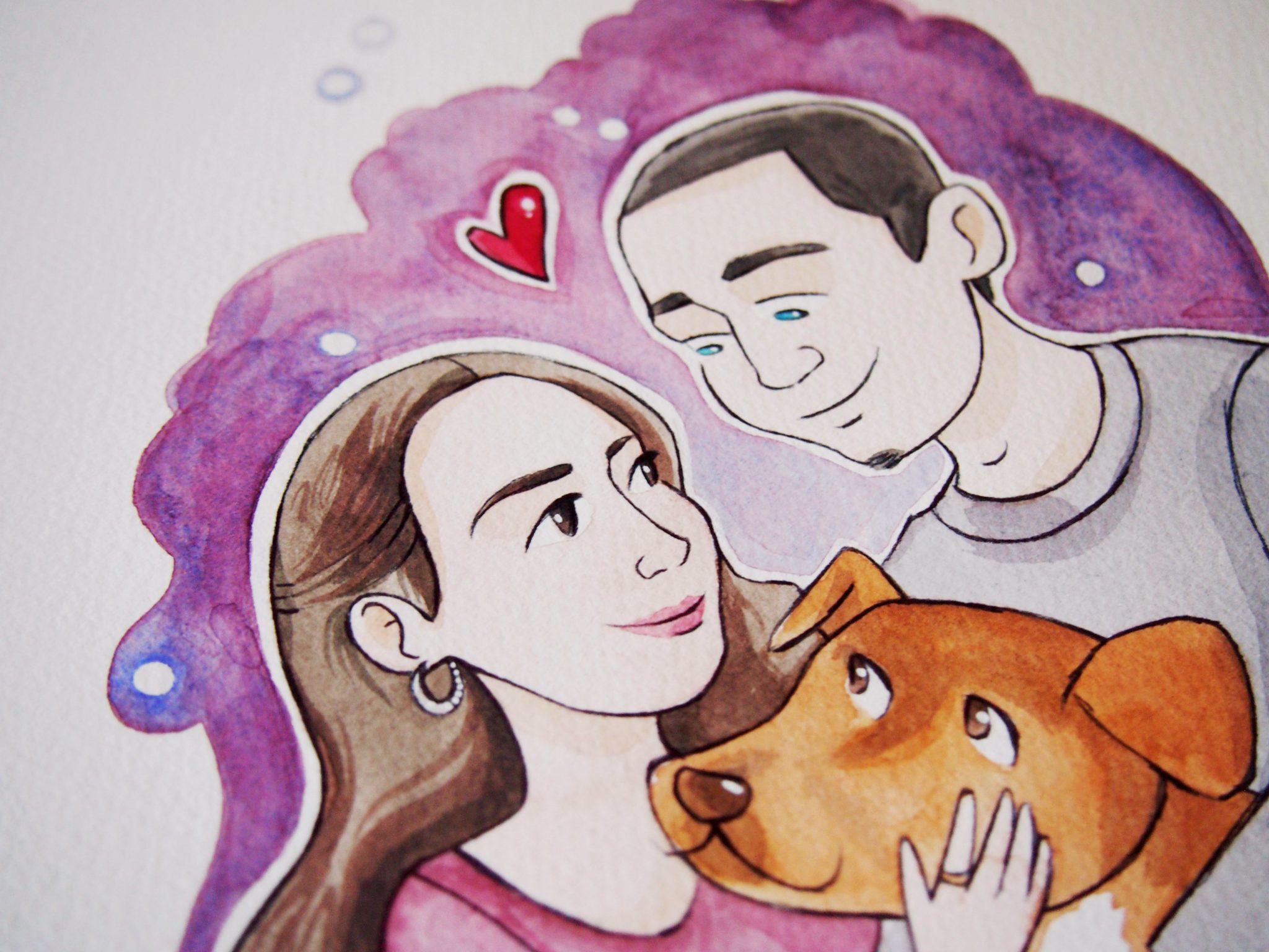 custom portrait, ritratto, custom couple portrait, personalized portrait, custom portrait anniversary, ritratto illustrato, ritratto personalizzato, ritratto di coppia, ritratto illustrazione anniversario