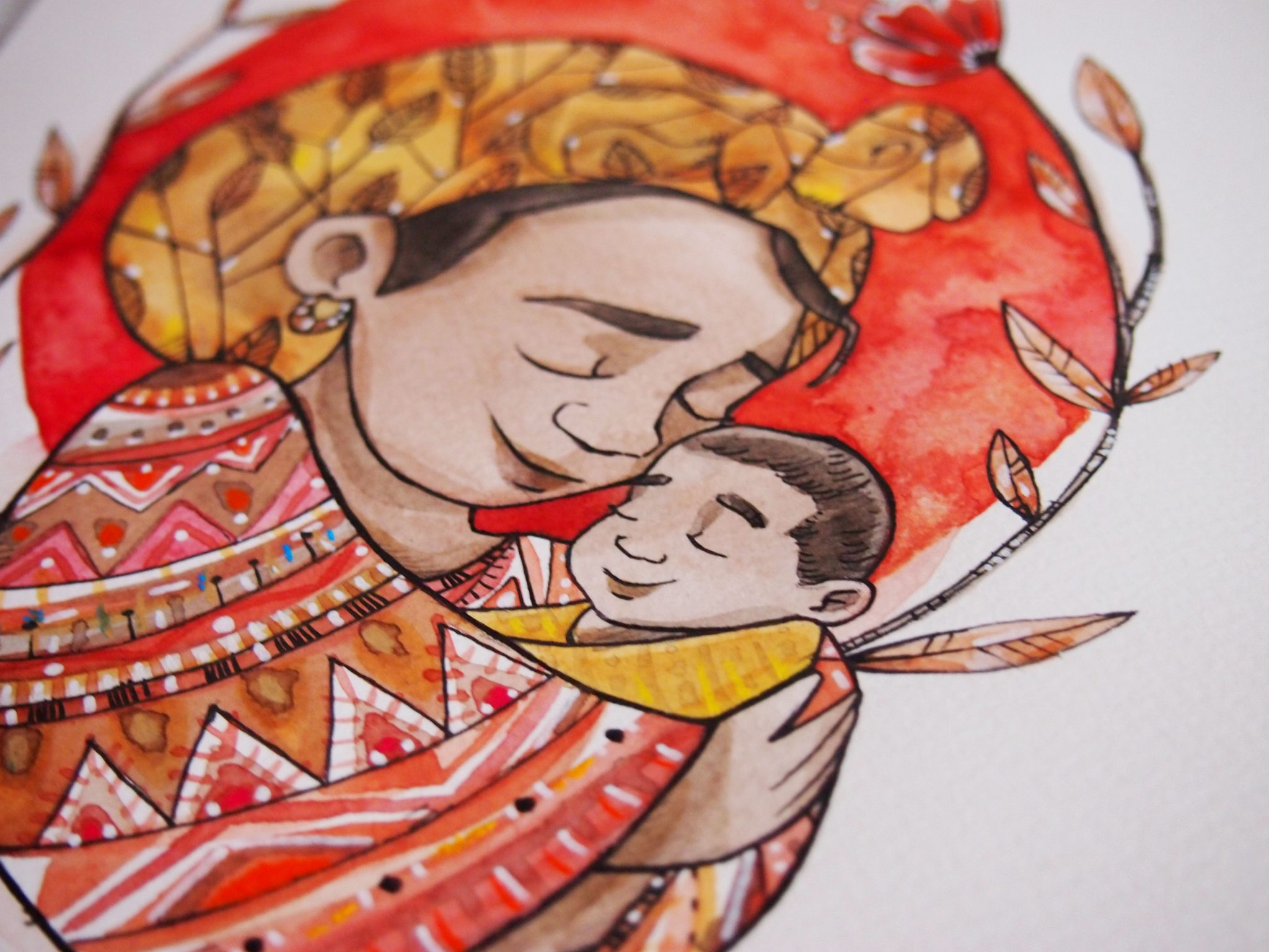 Ritratto di famiglia, ritratto, disegno acquerello e china