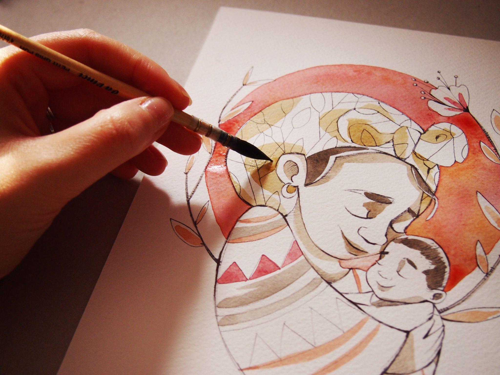 Ritratti ad acquerello e china, watercolor portrait, portrait, family portrait