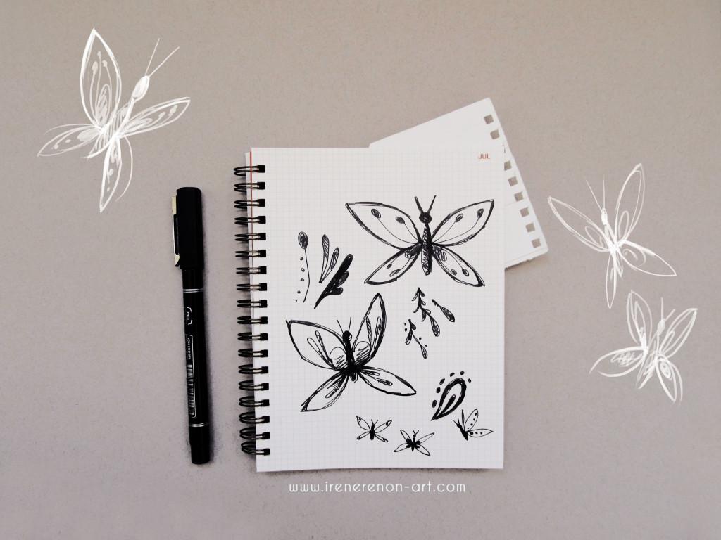 schizzo, disegni, disegni preparatori, farfalle, disegnato